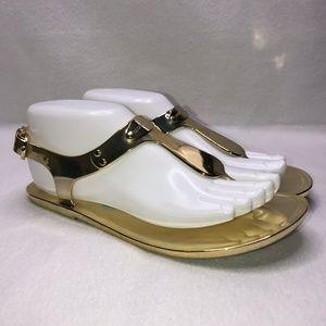 Michael Kors Jet Set 6 Gold Sandals Women's 7M
